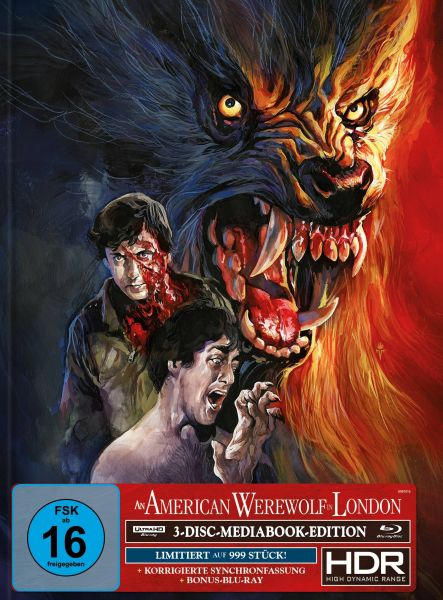 AN AMERICAN WEREWOLF IN LONDON 3-Disc-Mediabook (UHD + 2x Blu-ray) (TIMO-WÜRZ-Artwork) - 999 Stk.