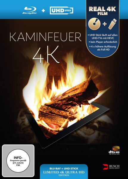 Kaminfeuer 4K (UHD Stick in Real 4K + Blu-ray) - Limited Edition